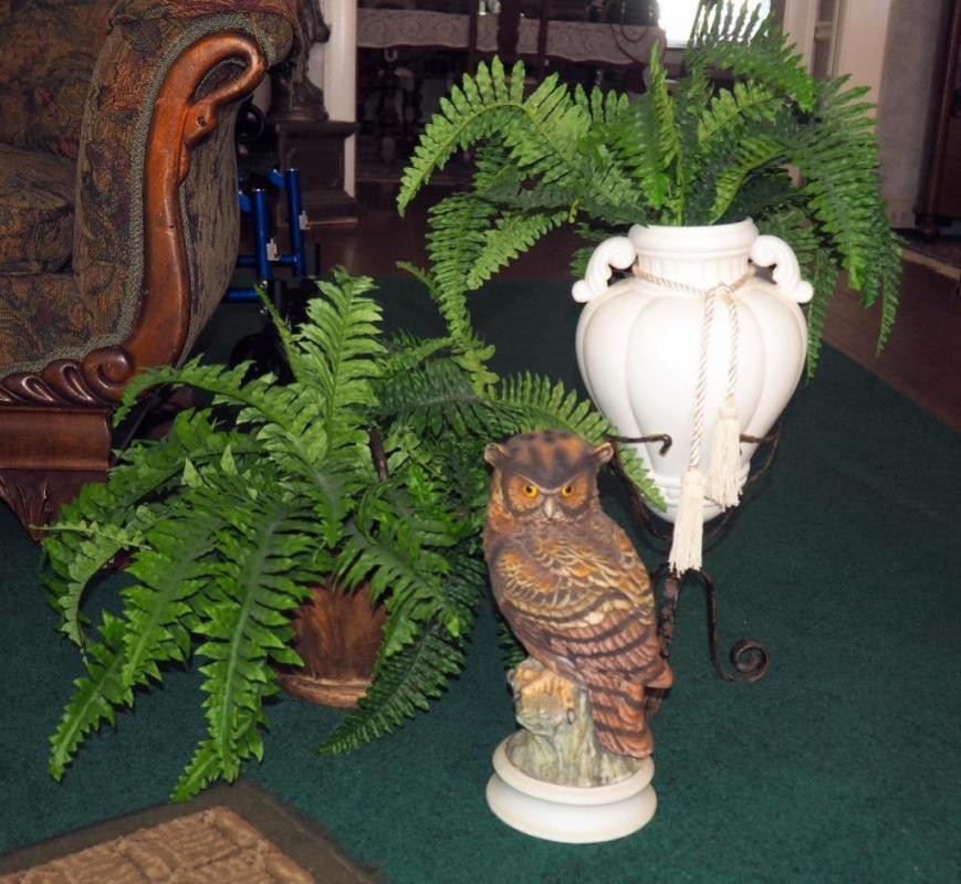 Andrea By Sadek Porcelain Great Horned Owl Statue 13h With Faux