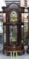 "Ridgeway Clocks Lighted Curio Grandfather Clock, Includes 3 Weights, 2 Keys, and Owner's Manual, 38""W x 89""H, Missing Chains, See Photos"