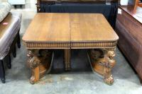 "19th Century Italian Renaissance Carved Table with Griffin Heads and Paw Feet, Includes Hardware, 54""W x 32""H, Damaged, See Photos"