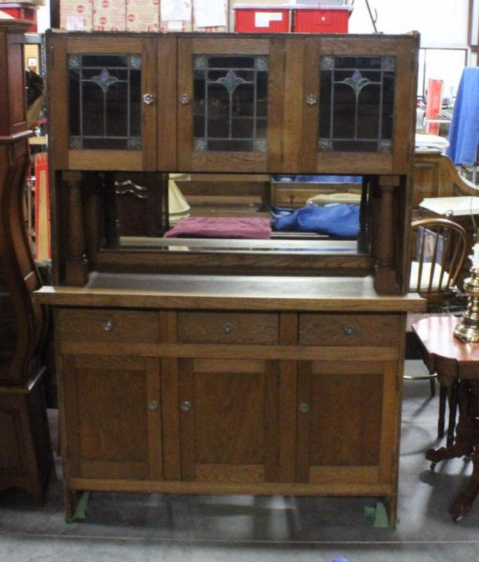 Mirrored Back Hoosier Buffet Table With Stained Glass Doors Beveled