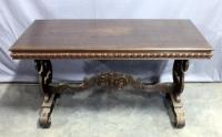 "Carved Library Table with Ornate Base, 54""W x 30""H x 24""D"