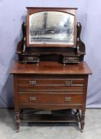 "Antique Dresser on Casters with Beveled Glass Tilt Mirror, 37""W x 32""H x 20""D, 59""H with Mirror"
