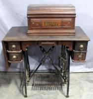 "Antique 1880's SM White Co Treadle Sewing Machine and Cabinet, Coffin Style Top, Cast Iron Base, Includes Manual, 32""W x 29""H x 16""D"