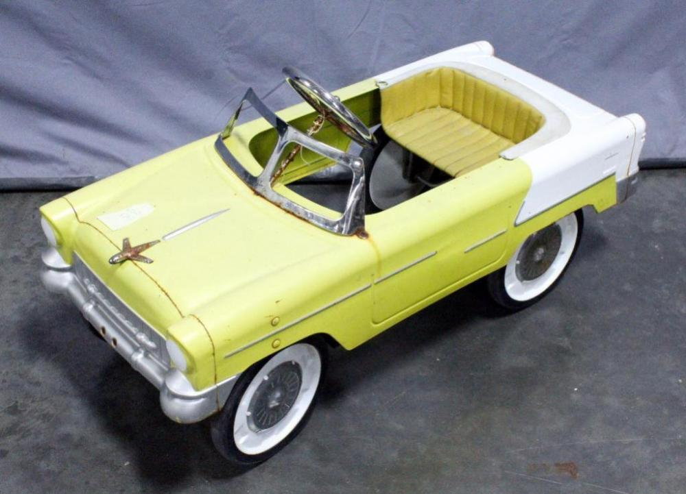 Lot 39 Of 395 Vintage 55 Chevy Metal Pedal Car With Airplane Hood Ornament 38 5 L X 17 W H