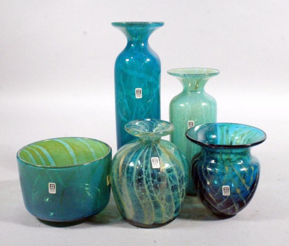 Mdina Art Glass Vases 4 And Bowl Vases Range 5 11h Bowl