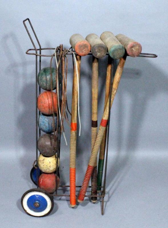 Lot 247 Of 395 Vintage Croquet Set 4 Mallets 6 8 Wire Wickets And Rolling Stand