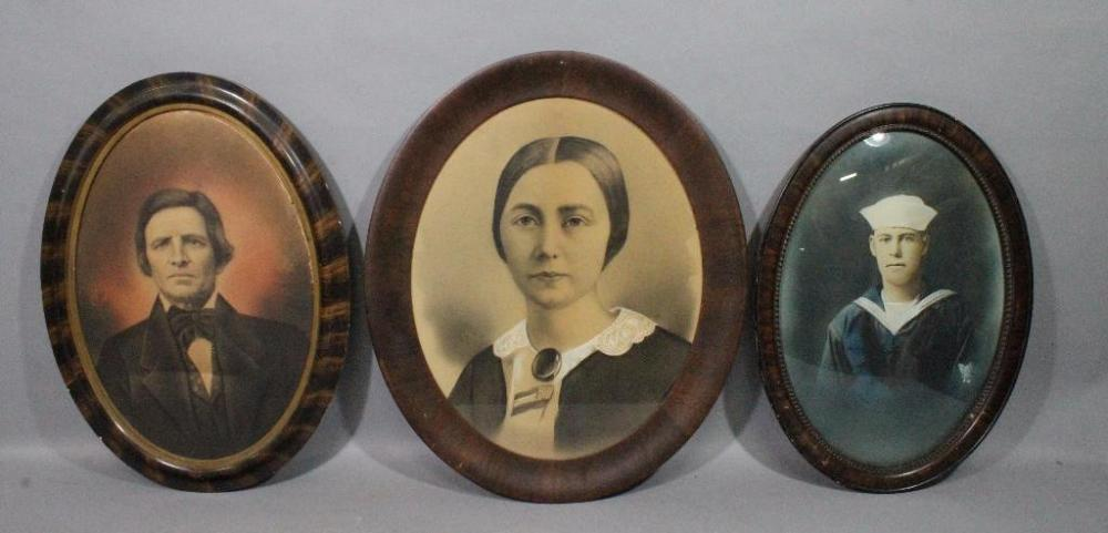Oval Frames with Antique Portraits, Qty 3, WW1 Sailor w/ Curved ...