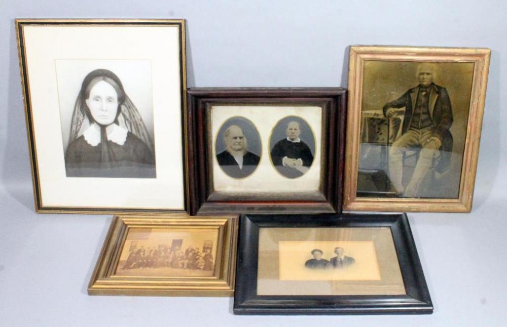 Antique Framed Portraits, Qty 5, Frame Sizes Range 13.5\