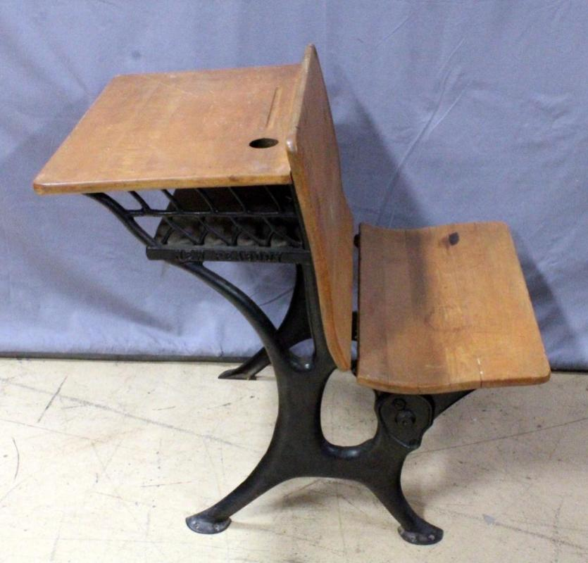 Lot 198 of 383: New Peabody Antique Cast Iron and Wood School Desk with  Folding Seat, 23