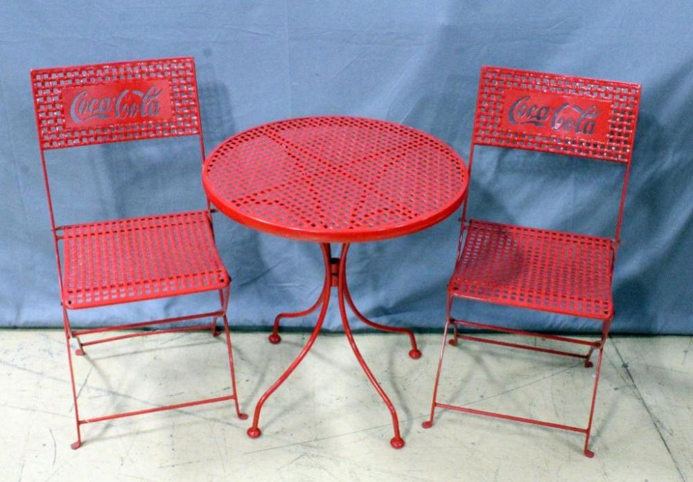 coca cola coke folding metal patio chairs 2 and table 24 dia x 26 h