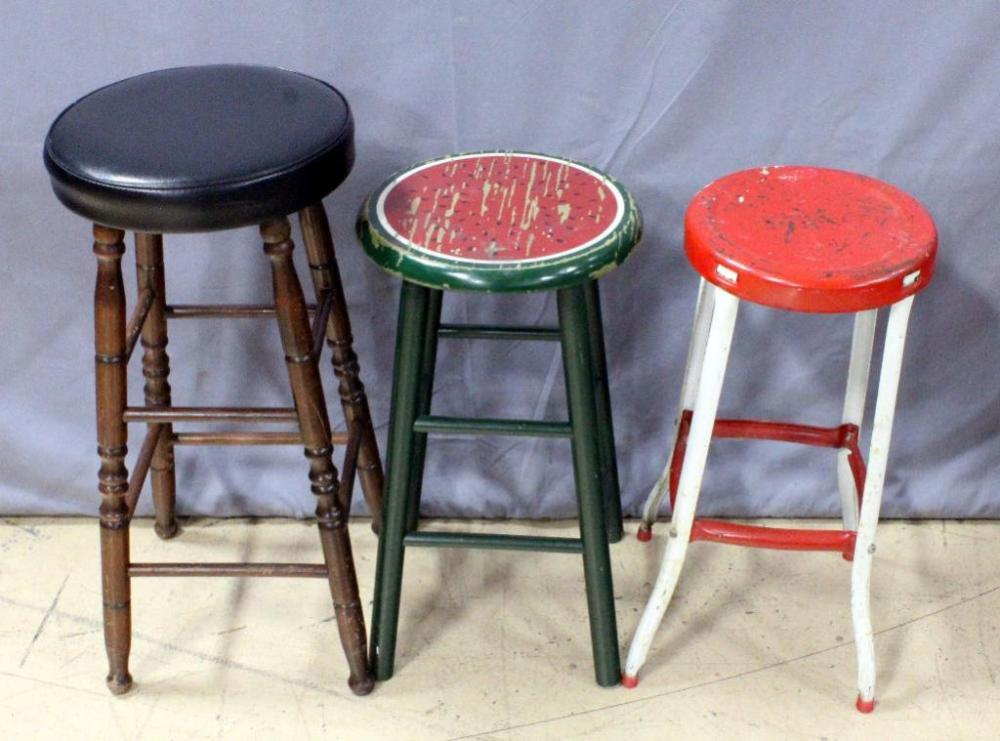 Superb Vintage Stools Qty 3 28 5H Wood Spindle Stool With Black Ncnpc Chair Design For Home Ncnpcorg