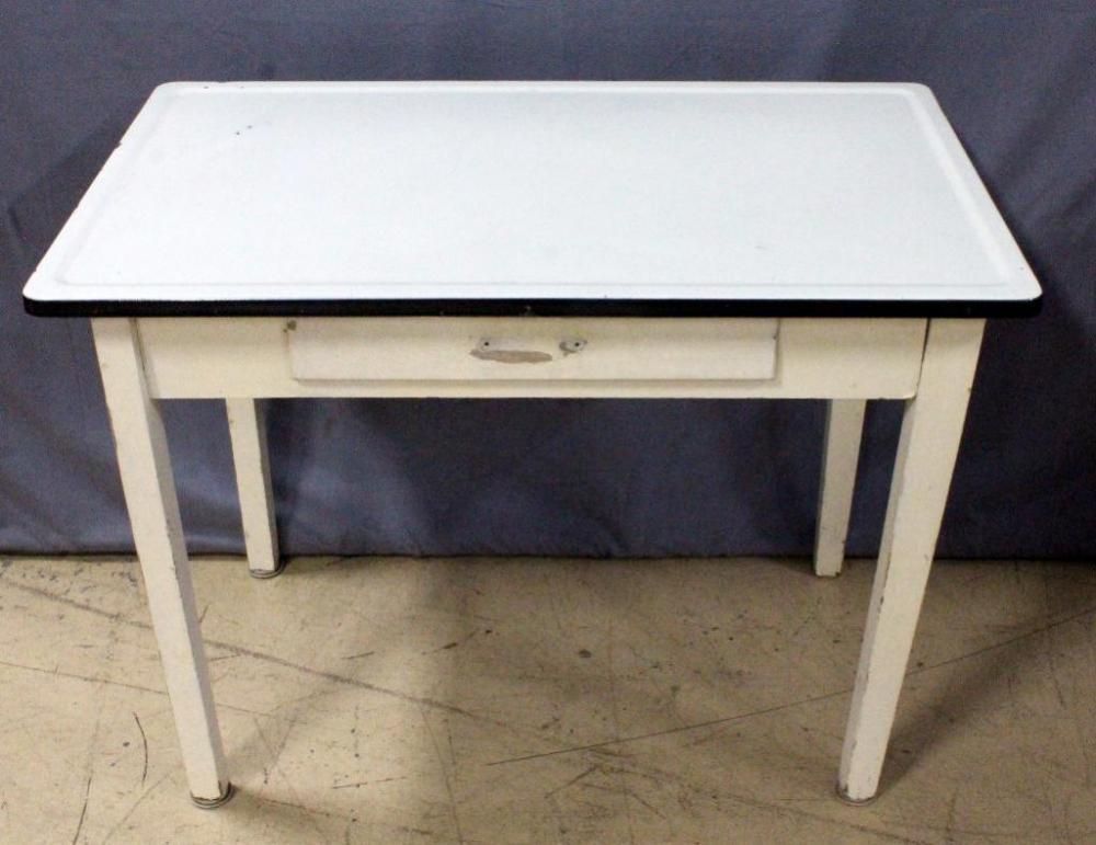 Porcelain Enamel Top Kitchen Nook Work Table with Drawer, 41 ...