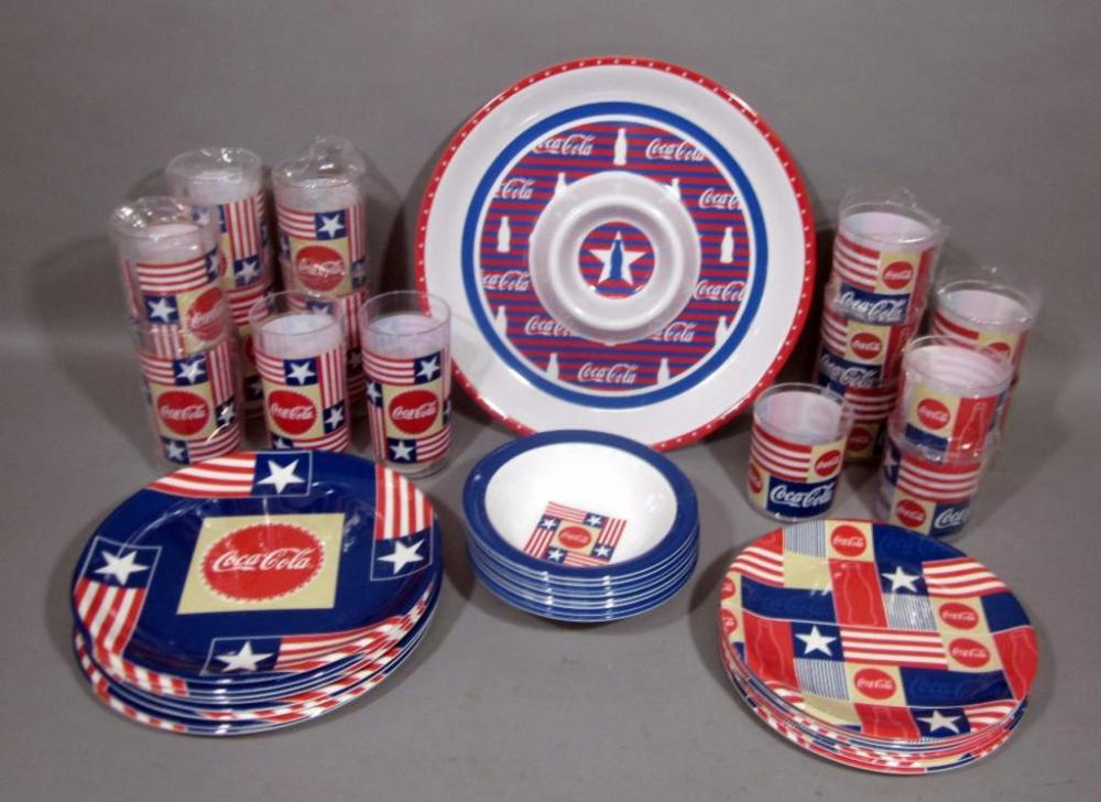 Lot 256 of 383 Coca-Cola Coke Red White and Blue Plastic Dinnerware Set for 8 with Tray and 16 Tumblers 8 Dinner Plates 8 Salad Plates 8 Bowls & Coca-Cola Coke Red White and Blue Plastic Dinnerware Set for 8 with ...