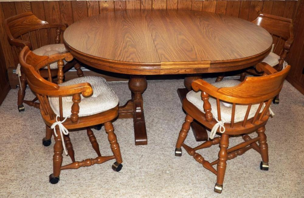 Of 341 Jefferson Woodworking Co Bend Rims Double Pedestal Kitchen Table With Two Leaves Seats 8 29 5 H X 48 W And Virginia House Rolling Pub Chairs