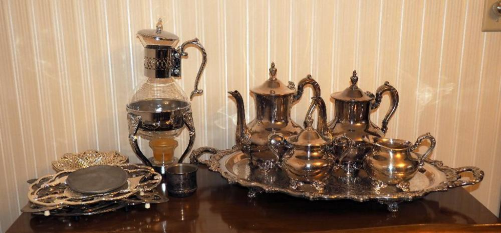 Lot 120 of 341 Old English Silver Plate By Poole Service Set Includes 22\  Footed Tray With Handles Coffee Pots Qty 2 Lidded Sugar Creamer Leonard ... & Old English Silver Plate By Poole Service Set Includes 22\