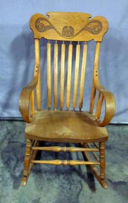 "Slat Back Rocking Chair with Bentwood Arms, 22.5""W x 38""H"