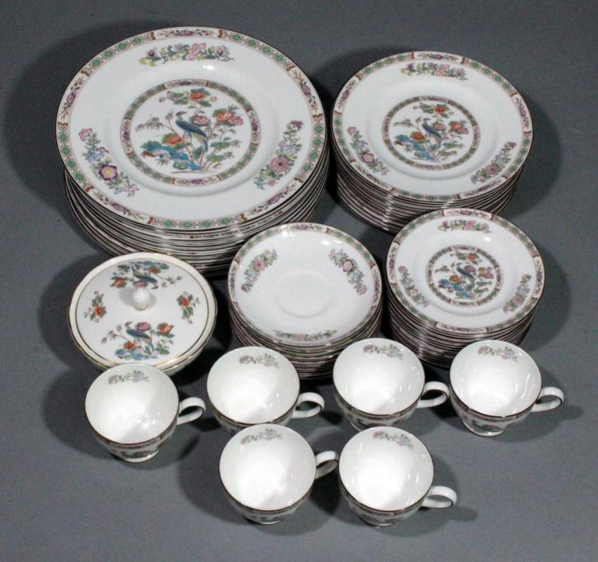 Lot 72 of 392 Wedgwood Bone China Kutani Crane Dinnerware Set Includes 12 Dinner Plates 12 Salad Plates 8 Bread Plates 6 Cups 12 Saucers ... & Wedgwood Bone China Kutani Crane Dinnerware Set Includes 12 Dinner ...