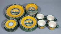 Geribi Deruta Italy Pottery Dinnerware, Hand Painted & Signed, Includes 3 Dinner Plates, 4 Salad Plates, 4 Bread Plates, 4 Bowls, & 4 Cups