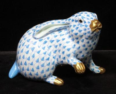 "Herend Hungary Hand Painted Blue Fishnet Porcelain Rabbit, #5335, 4""H"