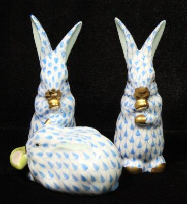 "Herend Hungary Hand Painted Blue Fishnet Porcelain Rabbits, Qty 2, 3.5""H"