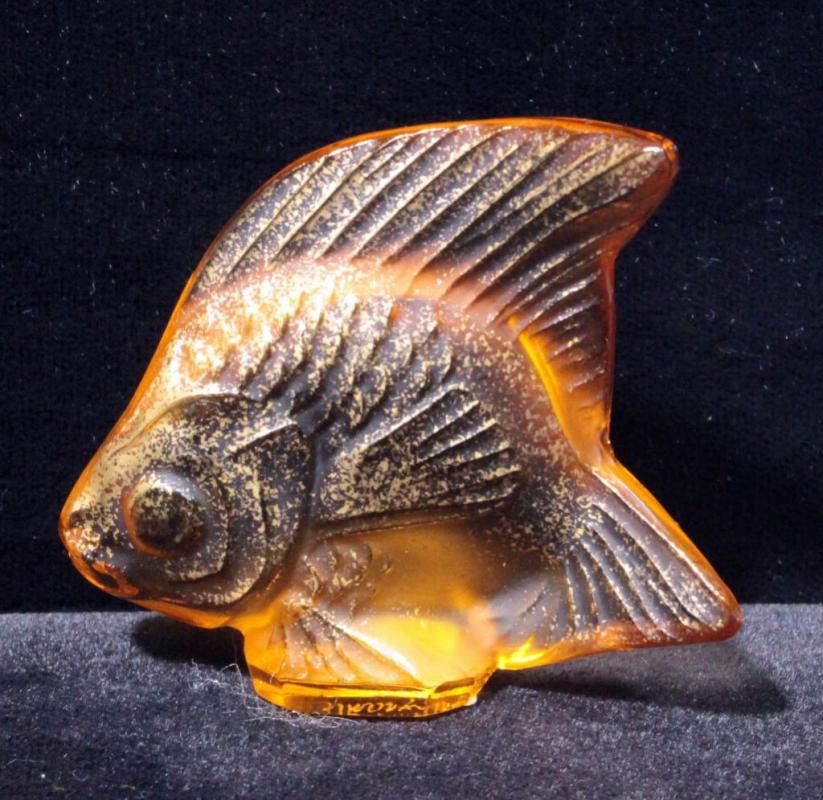 Lot 98 Of 392 Lalique Orange And Gold Crystal Fish Figurine Signed 2 X