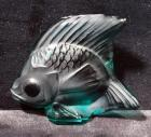 "Lalique Teal Crystal Fish Figurine, Signed, 2"" x 2"""