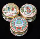 Halcyon Days Enamels Christmas Trinket / Pill Boxes, Qty 3, Christmas 1984, 1985 and 1988