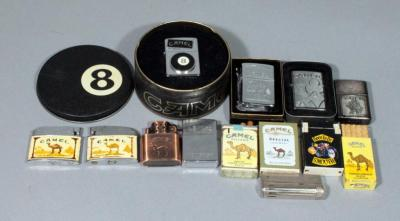 Camel Cigarettes Joe Camel Advertising Lighter Collection, Qty 13, Includes Zippos (5) and More