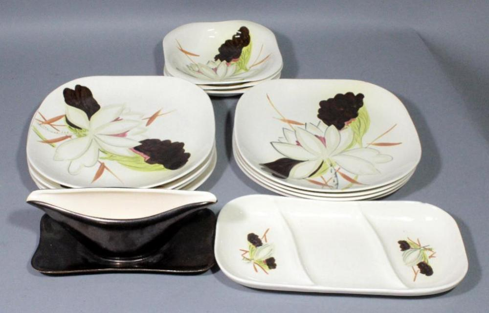 Lot 232 Of 392 Red Wing Hand Painted Lotus Bronze Dinnerware Set Includes 8 Dinner Plates 3 Bowls Platter And Gravy Boat