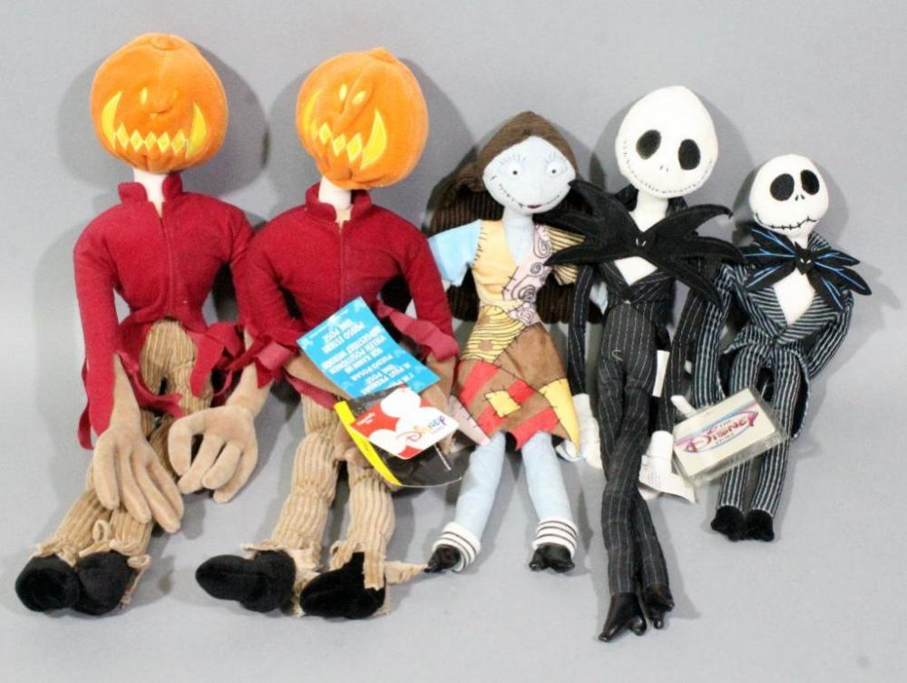 lot 58 of 283 nightmare before christmas disney store plush dolls qty 5 16 sally 18 jack 13 bean bag jack and 20 pumpkin jack poseable dolls 2