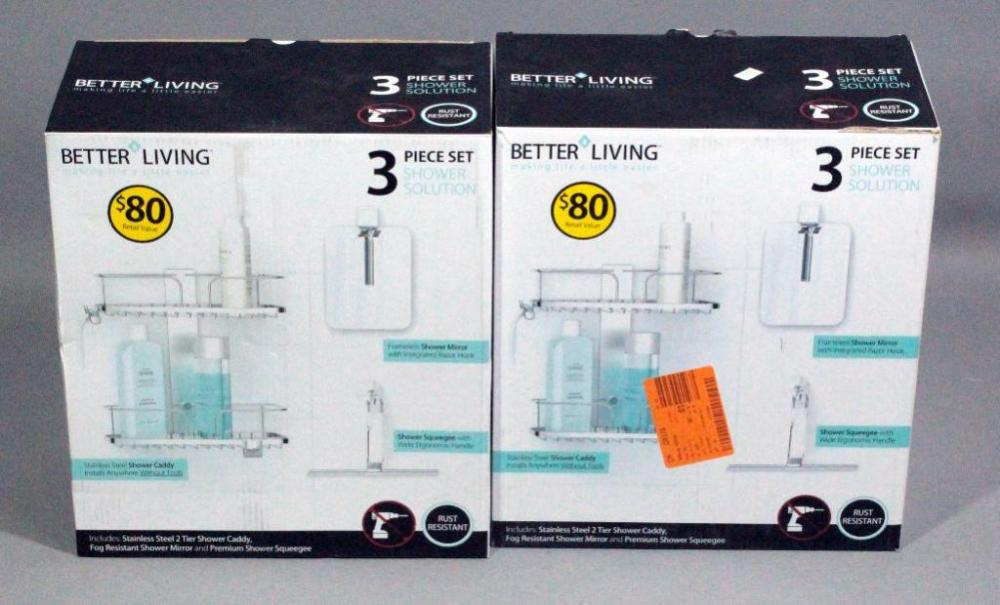 Better Living 3 Piece Shower Solutions, Qty 2, Shower Caddy, Mirror ...