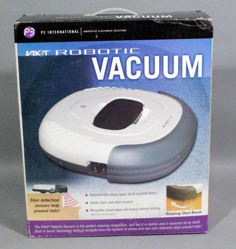 Lot 171 Of 278 P3 International V Bot Robotic Vacuum Model P4960 3 75 H X 5 W 14 D Stair Detection Cleans Wood Tile Carpet
