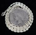 "1934 Peace Silver Dollar Sterling Silver Coin Pendant with 24"" Silver Tone Rope Chain"