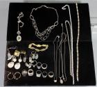Assorted Sterling Silver Jewelry, Necklaces, Earrings and Rings