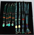 Handmade German Silver Beaded Necklaces, Qty 8, Beaded Necklaces with Turquoise Pendants, Qty 4, & Beaded Chokers, Qty 4