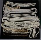 Costume Jewelry Faux Pearl and Beaded Necklaces, Qty 10, and Faux Pearl Bracelet