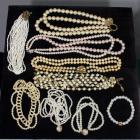 Costume Jewelry Faux Pearl and Beaded Necklaces, Qty 7, and Faux Pearl Bracelets, Qty 2