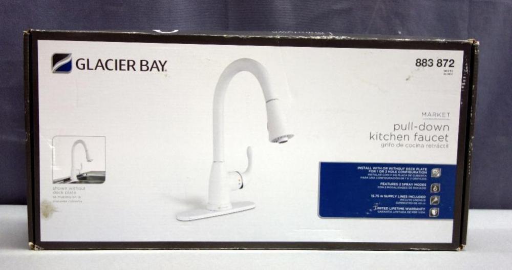 Glacier Bay Market Pull Down Kitchen Faucet, Model 883 872, White, 1 ...