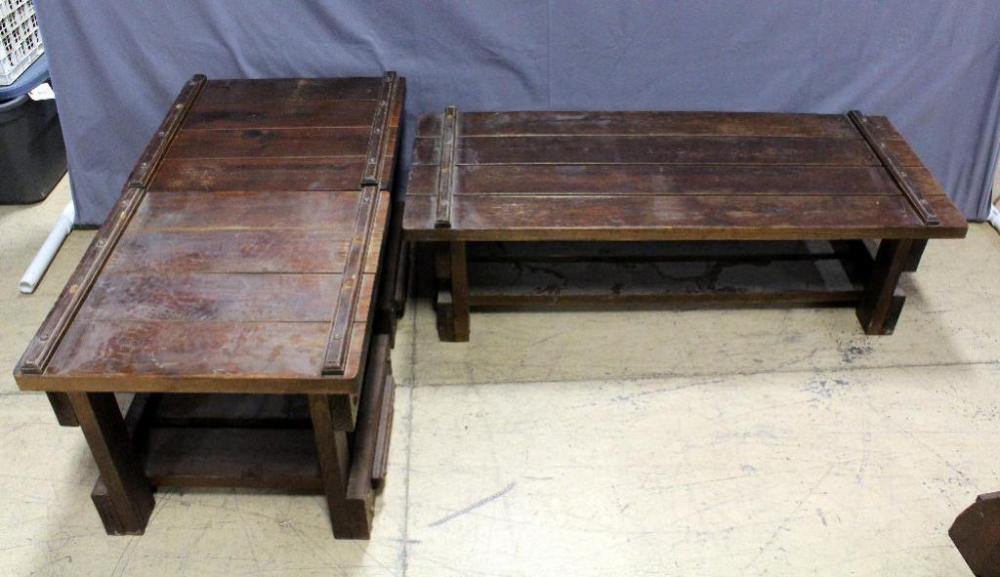 Lot 33 Of 345 Wood Plank Coffee Table With Matching Side Tables 2 Measures 54 L X 22 W 16 H Measure 24 21 D