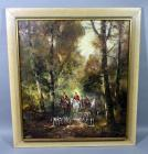 "Original Oil On Canvas Fox Hunt Scene, Impressionist Style , Appears to be Signed ""KF"", Framed, 33.5""W x 37.5""H"