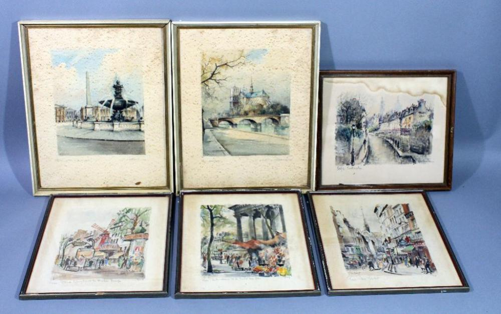 Limited Edition Signed Parisian Framed Watercolor Prints, Qty 6 ...
