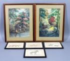 "Original Watercolor Paintings, Qty 2, Signed but Illegible, Framed & Matted, 15"" x 19"", and Framed Sketch Prints ""MJR"", Qty 4, 8.5"" X 6.5"""