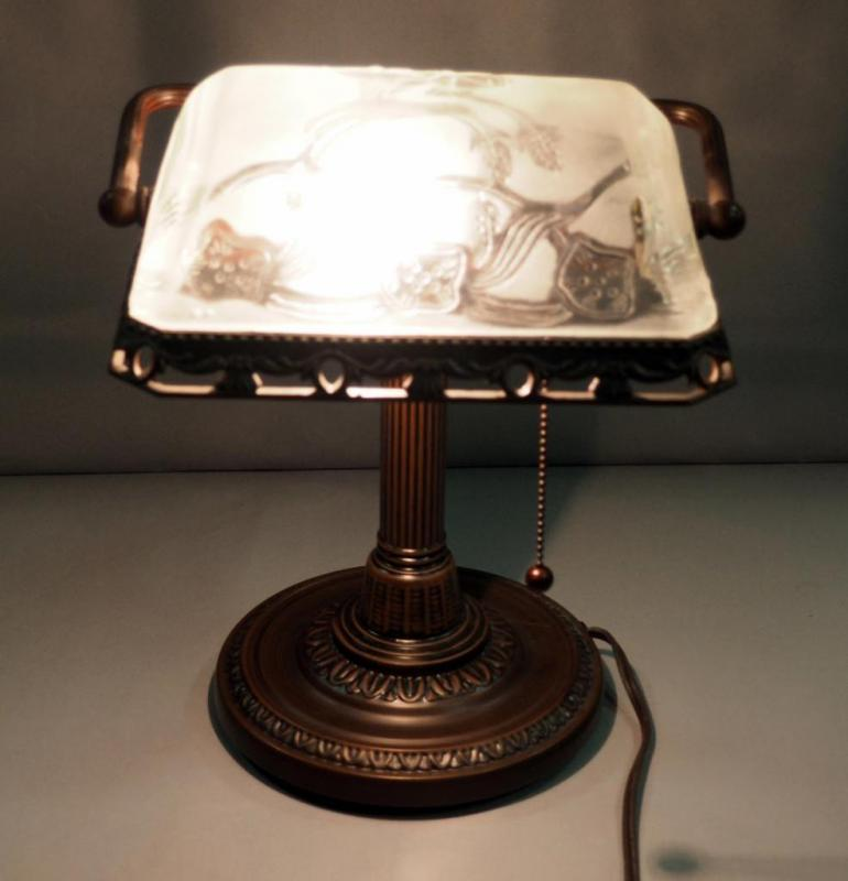 Bankers Desk Lamp With Frosted Glass Shade Heavy Marked Mvc 3817