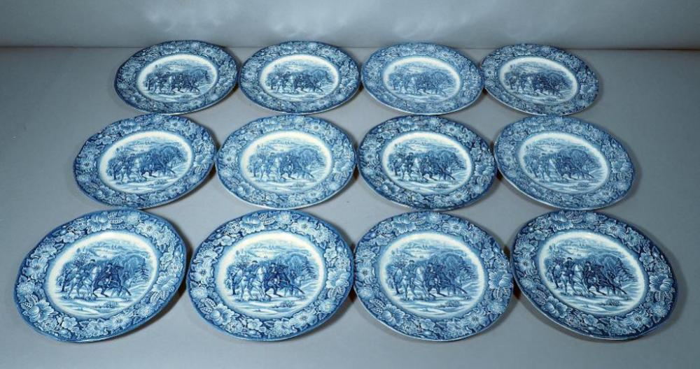 Lot 101 of 345 Liberty Blue Staffordshire Ironstone Historic Colonial Scenes  Washington at Valley Forge  9  Luncheon Plates Qty 12 Some Chips ... & Liberty Blue Staffordshire Ironstone Historic Colonial Scenes ...