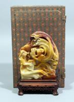 "Carved Stone Chinese Paixiao and Guqin Players Statue on Base, with Box, 4.5""W x 7""H"