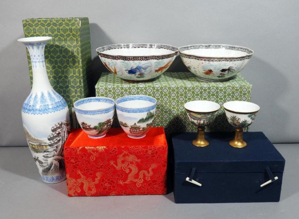 Eggshell China 4 Cups 2 Bowls And Vase All Include Boxes