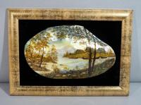 "Large Hand Painted Russian Mussel/Mother of Pearl Shell, Village Scene, Framed, 10""W x 5""H, Frame 14""W x 10""H"