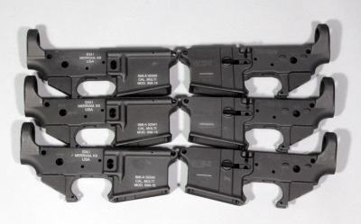 SMI Model SMI-15 Hard Anodized Black 70/75 T6 Aluminum Forged Lower Receivers, Multi Cal, SN# SMI-A 02037 - 02042, Qty 6