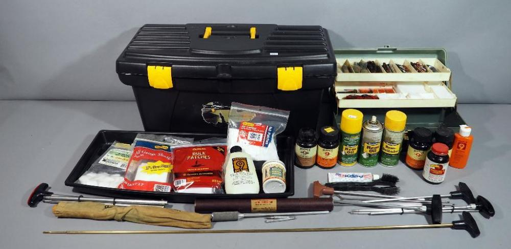 Large Assortment of Gun Cleaning Accessories, Brushes, Patches, Oil