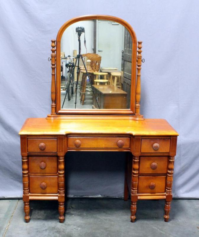 Lot 12 Of 271 Maple Vanity With Mirror Dovetail Constructed Drawers Spindle Accents And Legs 47 W X 30 H Without 64 Attached